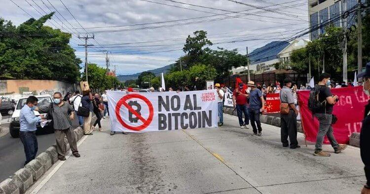 En El Salvador se produjo manifestación contra la Ley Bitcoin